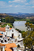 View from castle across Rio Guadiana towards Spain, Alcoutim, Algarve, Portugal