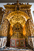 Interior view of the altar in Se Cathedral, Faro, Algarve, Portugal