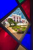 View through coloured window, Pousada, Estoi palace, Estoi, Algarve, Portugal