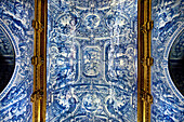 Tiles (Azulejos), church Igrja de Sao Laurenco, Almancil, Algarve, Portugal