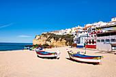 Boats on the beach, Carvoeiro, Algarve, Portugal