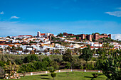 View towards old town, castle and cathedral, Silves, Algarve, Portugal