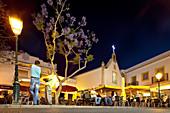 Old town at twilight, Cafe on the village square, Alvor, Algarve, Portugal