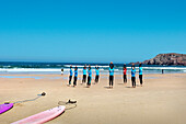 Surfer, Praia da Bordeira, Carrapateira, Costa Vicentina, Algarve, Portugal