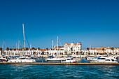 View towards the Marina and town, Vila Real de Santo Antonio, Algarve, Portugal
