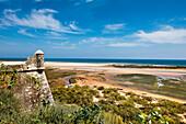 View from castle towards the beach, Cacela Velha, Algarve, Portugal