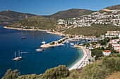 View over town and harbour with Gulets, Kalkan, Lycia, Antalya Province, Mediterranean Coast, Southwest Turkey, Anatolia, Turkey, Asia Minor, Eurasia