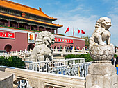 Tiananmen Sqaure in front of portrait of Mao Zedong on Gate of Heavenly Peace (Tiananmen Gate), Beijing, China, Asia
