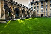 Courtyard with lush green grass, Cambridge, England