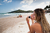Russian girl poses on Haad Rin beach, Ko Phangan, Thailand