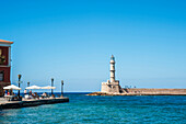 Lighthouse in the Venetian harbour, Chania, Crete, Greece
