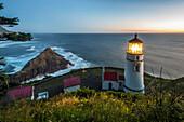 Heceta Head lighthouse at dusk, Oregon, United States of America