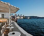 A seafront bar in the Little Venice area, Mykonos Town, Mykonos, Cyclades, Greek Islands, Greece