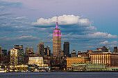 Empire State Building at sunset with colour honouring the Cupus Foundation of America, New York City, New York, United States of America