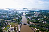 Aerial view of Bandar Seri Begawan, the capital of Brunei, Bandar Seri Begawan, Brunei
