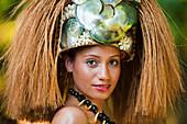 Traditional headress worn by young Samoan woman, Upulu Island, Samoa