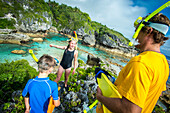 Family snorkelling, Niue island