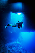 Diving into the Blue Holes underwater caves, Palau, Micronesia
