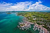 Aerial view over Hanuabada Village, Port Moresby, Papua New Guinea