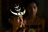 Girl with a traditional Timorese headband, Timor-Leste