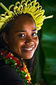Young Kiribati woman in traditional dress, Kiribati Islands
