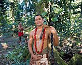 Samoan in traditional dress with staff, Upolu Island, Samoa