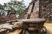 Stone turtles in front of the Central pyramid of the 15th-century Javanese-Hindu temple, Candi Sukuh, Central Java, Indonesia