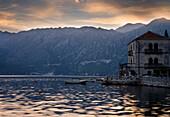 Old Building And Baosts At Dusk,Perast Montenegro.Tif