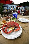 Crab served at Anchorage seafood cafe, Dittisham, Devon, England
