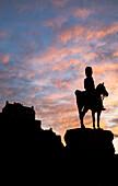 The Royal Scots Greys monument on Princes Street, Edinburgh, Scotland