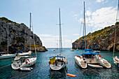 Boats In Cales Coves, Menorca, Balearic Islands, Spain
