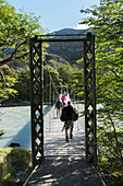 'Tourists walking on a bridge over a river, Torres del Paine National Park; Torres del Paine, Magallanes and Antartica Chilena Region, Chile'