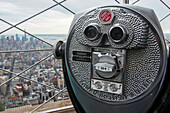 'Binocular tower viewer and view from the top of the Empire State Building; New York City, New York, United States of America'