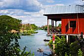 'Stilt house on the island of Don Det on the Mekong River along the Cambodia/Laos border; Si Phan Don, Laos'