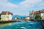 'Water flowing in River Reuss; Lucerne, Switzerland'