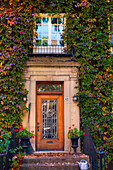 'Windows and doors framed with vines and autumn colours; Montreal, Quebec, Canada'