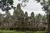 'Impressive Buddha's faces in Bayon Wat, built by the king Jayavarman VII in the end of twelfth century, from Angkor; Siem Reap, Cambodia'