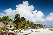 'White sand beach with thatched huts, coconut and palm trees and blue sky with large white cloud; Tulum, Quintana Roo, Mexico'