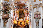 'Ornate colourful painted interior of a Pilgrimage Church; Wies, Bayern, Germany'