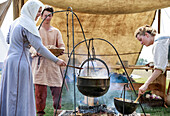 'Viking women cooking at the Icelandic Festival of Manitoba; Gimli, Manitoba, Canada'