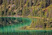 'The emerald green waters of Emerald Lake near Carcross; Yukon, Canada'