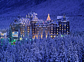 'D.Wiggett; Banff Springs Hotel In Winter At Twilight, Banff Np, Ab'