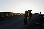 Silhouette Of Hikers In The Miscanti And Miniques Lagoon Area, Antofagasta Region, Chile