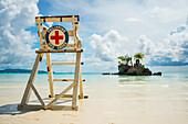 'Red cross lifeguarding chair on Boracay beach; Boracay, Panay, Philippines'