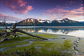 Scenic view of sunset over Turnagain Arm, Southcentral Alaska