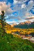 Scenic view of Eagle River Valley and Chugach Mountains at sunset, Southcentral Alaska