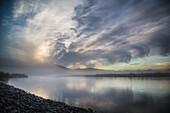 Misty sunrise over the Noatak River, Gates of the Arctic National Park, Arctic Alaska, USA
