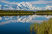 Scenic view of Mt. McKinley reflecting in Reflection Pond, Denali National Park, Interior Alaska, Spring