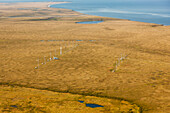 Aerial view of wind turbines at the Kotzebue wind farm, Arctic Alaska, summer