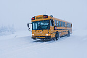 School bus in a winter blizzard, Homer, Southcentral Alaska